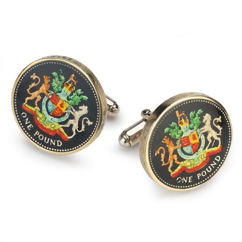UK Royal Arms Pound Coin Cufflinks (RARE)