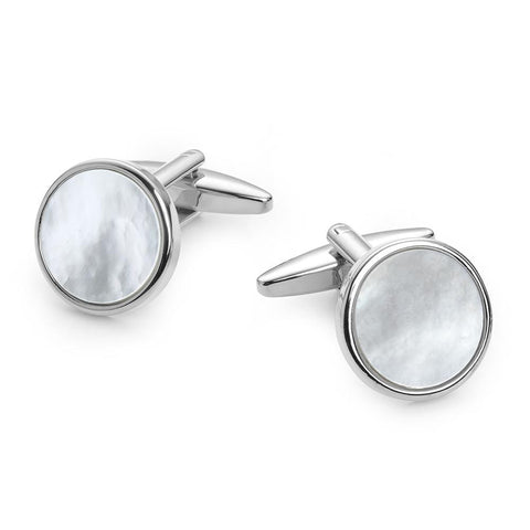 Round Mother Of Pearl Rhodium Plated Cufflinks