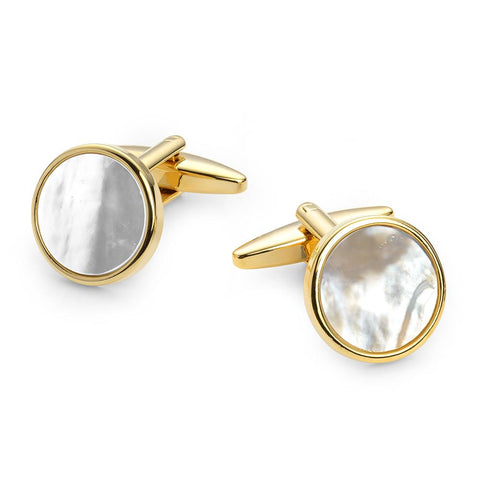 Round Mother Of Pearl Gold Plated Cufflinks