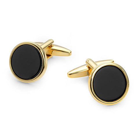 Round Onyx Gold Plated Cufflinks