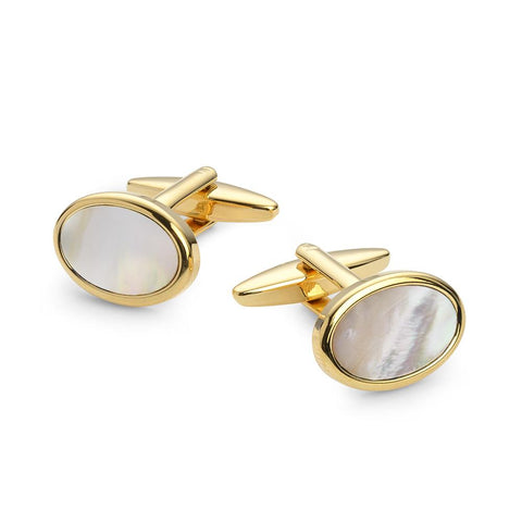Oval Mother Of Pearl Gold Plated Cufflinks Cufflinks Not specified