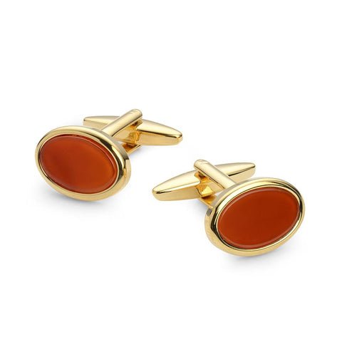 Oval Carnelian Gold Plated Cufflinks Cufflinks Not specified