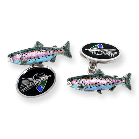 Trout & Fly Fishing Sterling Silver Cufflinks Cufflinks Benson And Clegg
