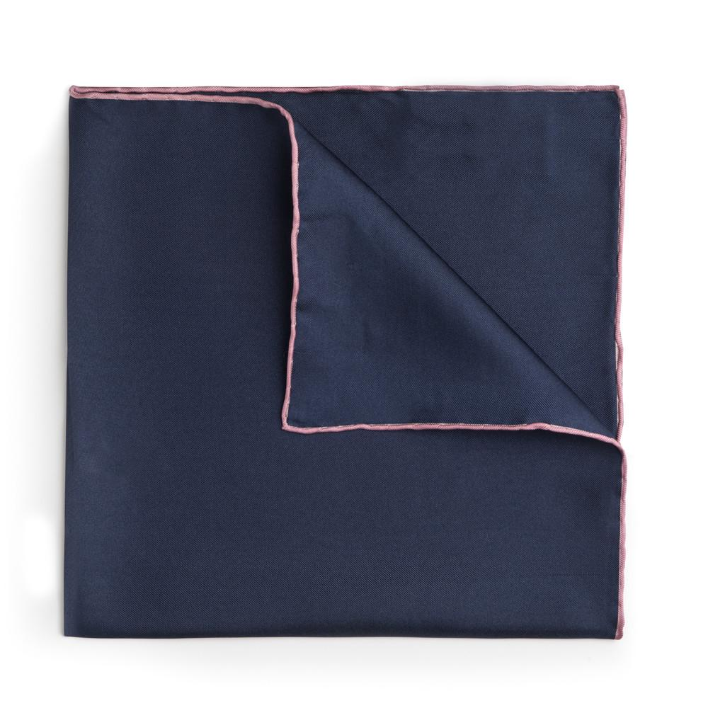 Navy Blue With Pink Shoe String Silk Pocket Square