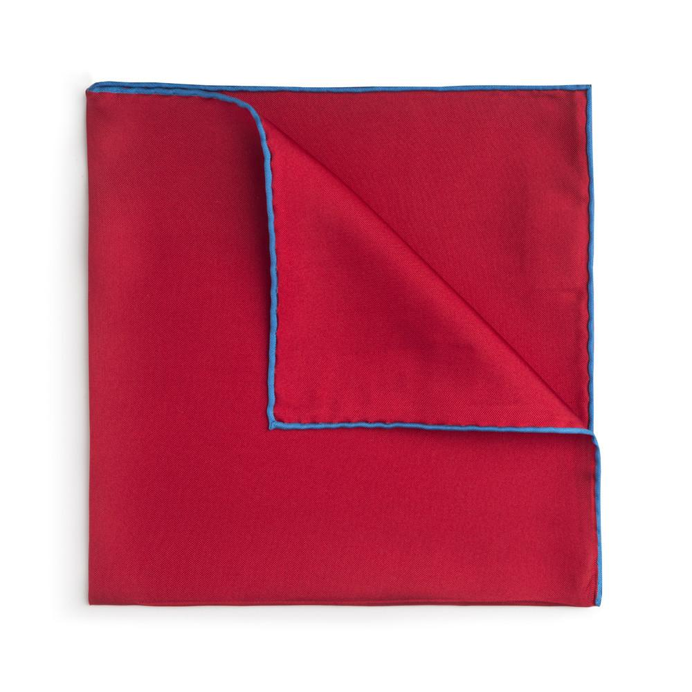 Red With Blue Shoe String Silk Pocket Square