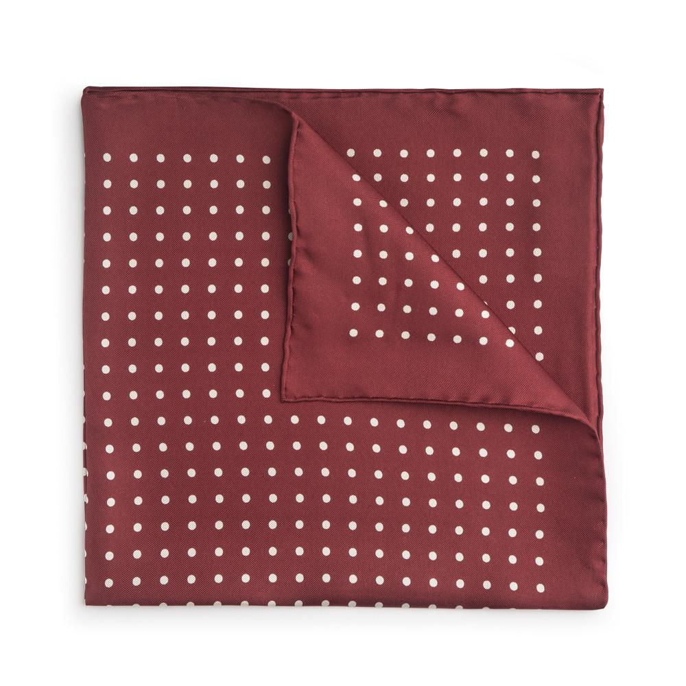 Red With White Polka Dot Silk Pocket Square