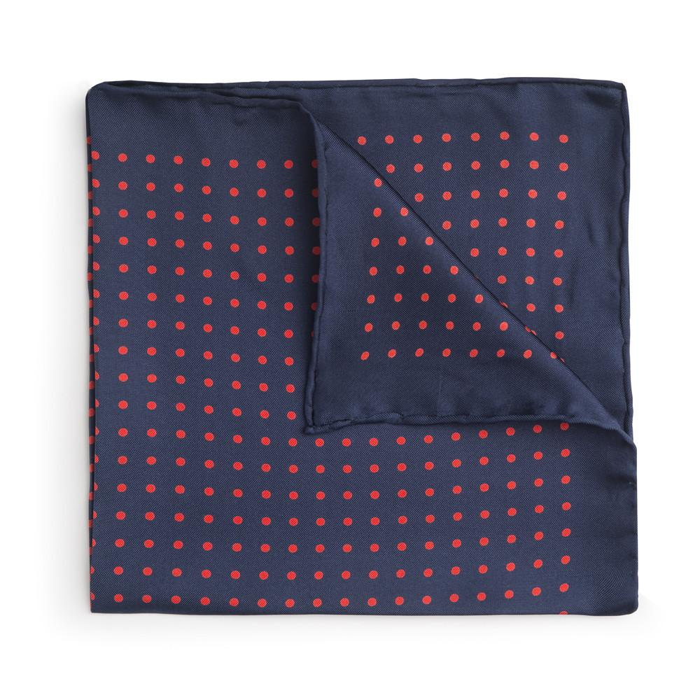 Navy With Red Polka Dot Silk Pocket Square