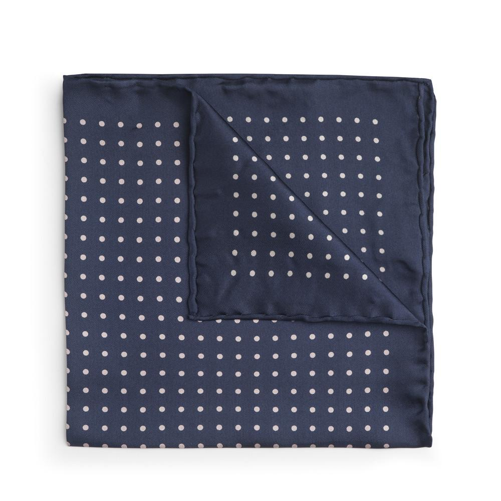 Navy With White Polka Dot Silk Pocket Square