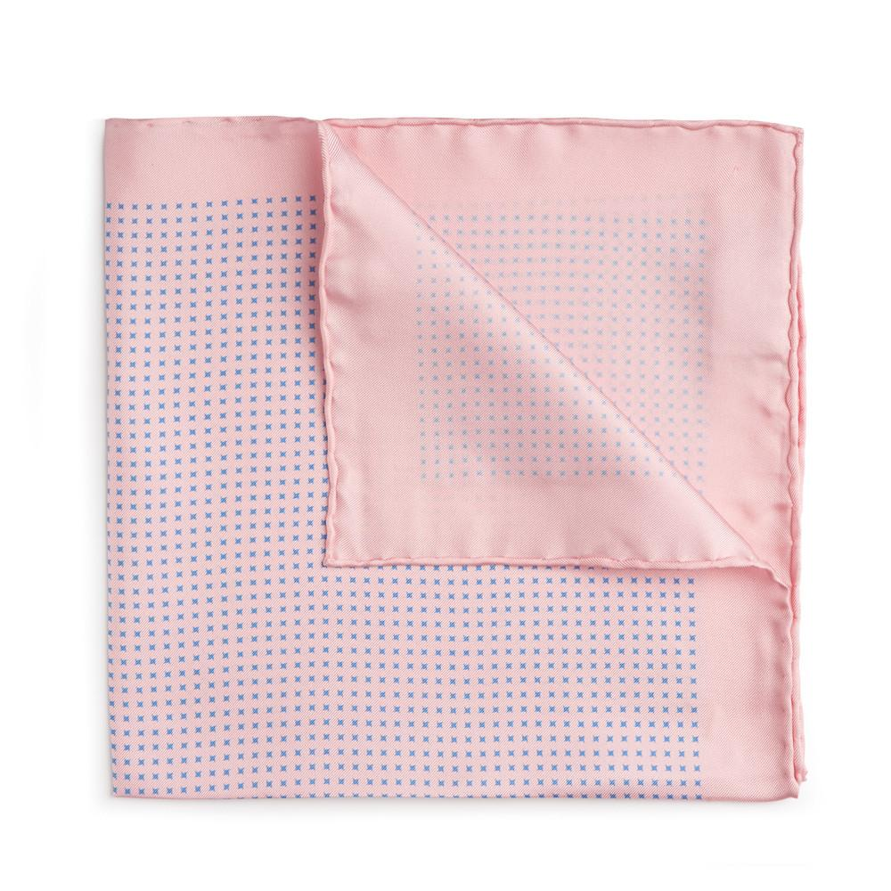Pink With Blue Houndstooth Silk Pocket Square