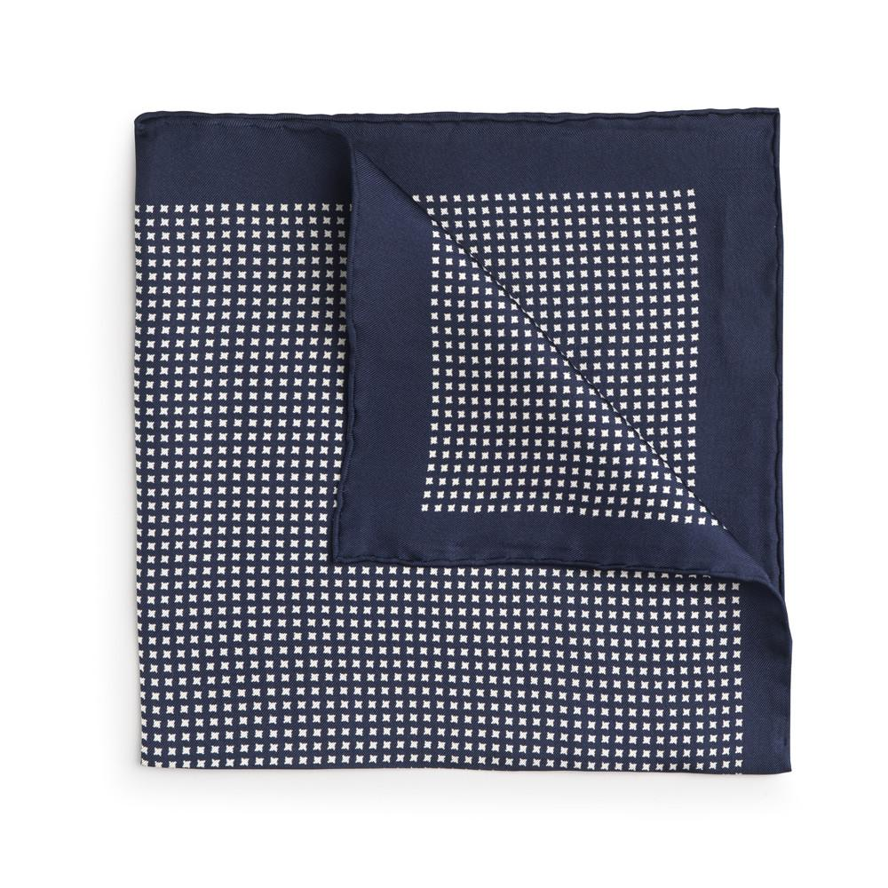 Navy With Cream Houndstooth Silk Pocket Square