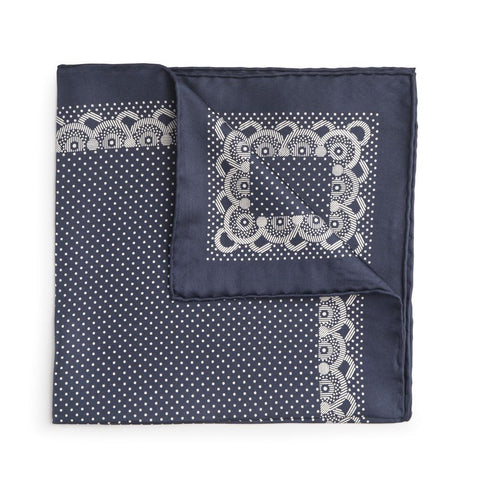 Navy With White Polka Dot & Border Silk Pocket Square