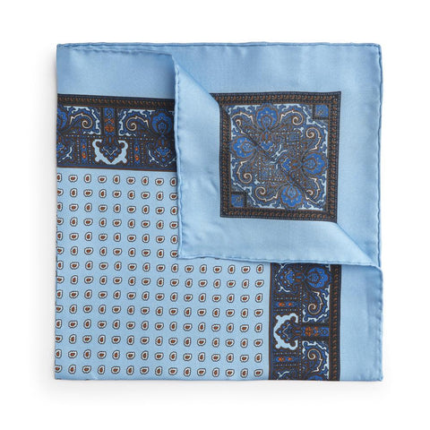 Sky Blue Paisley Silk Pocket Square