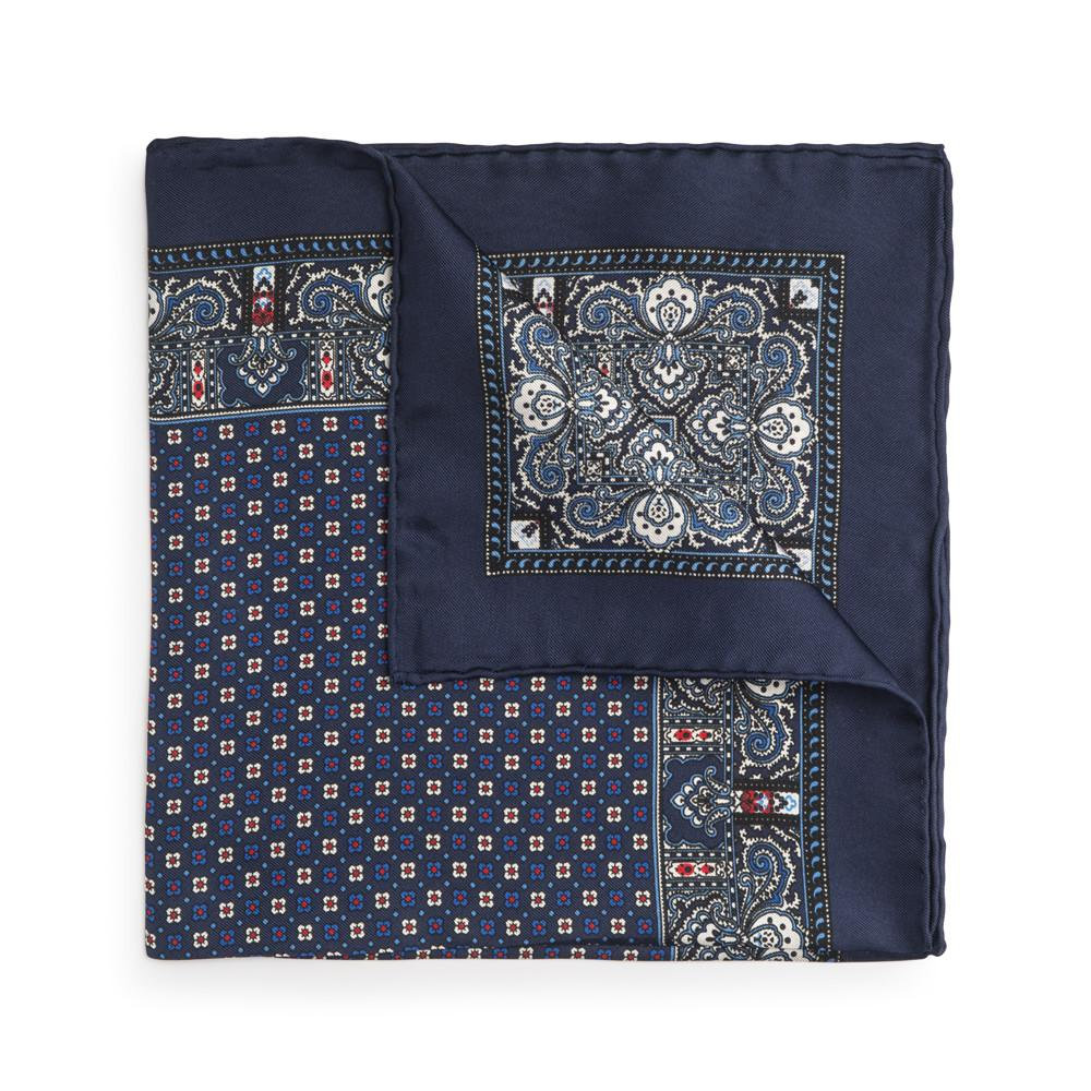 Navy Blue Design Silk Pocket Square