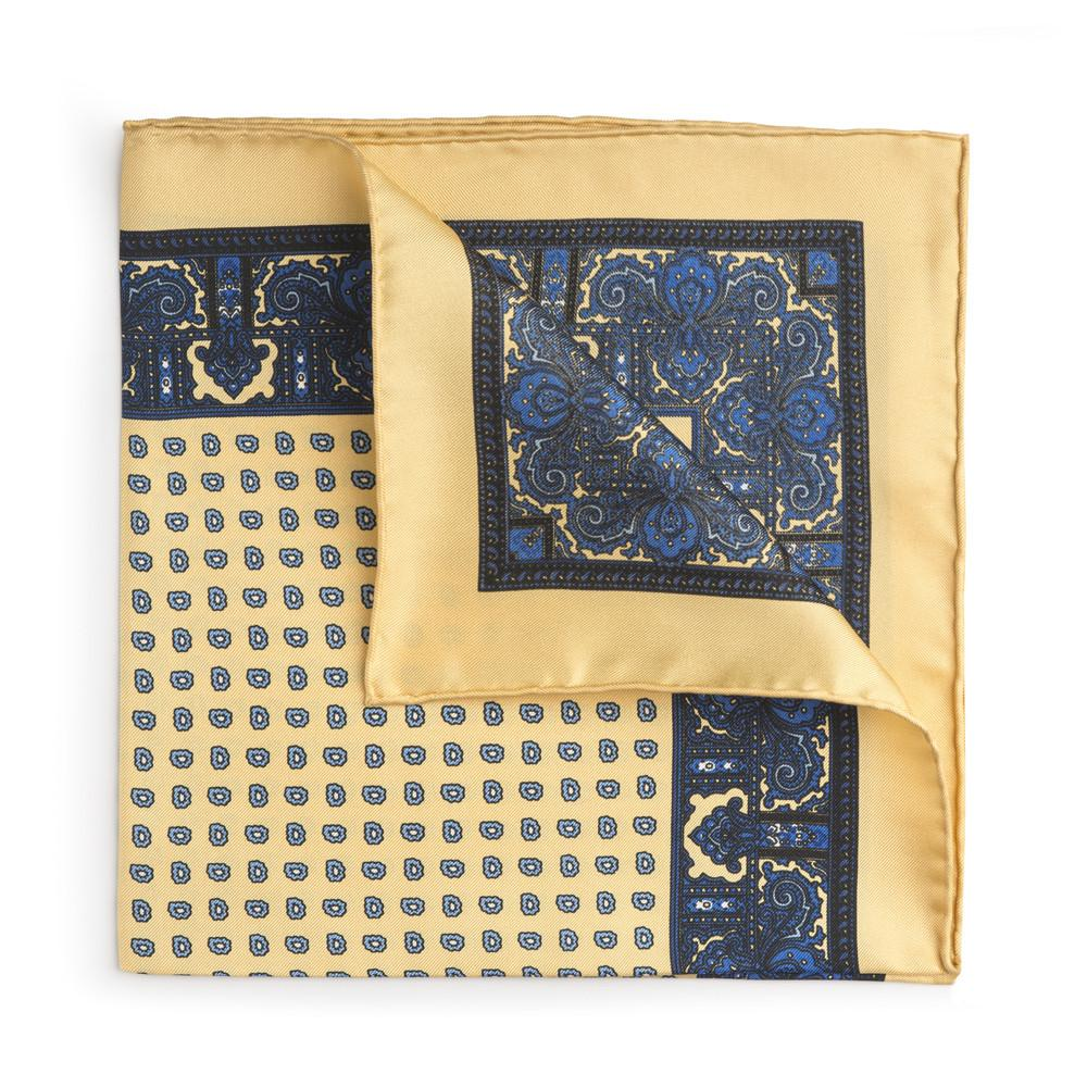 Yellow Paisley Silk Pocket Square
