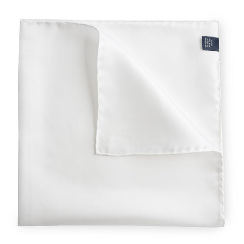 Plain White Silk Pocket Square