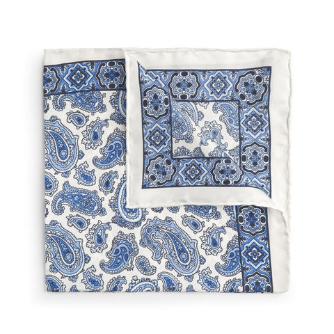 Large White And Blue Paisley Silk Pocket Square