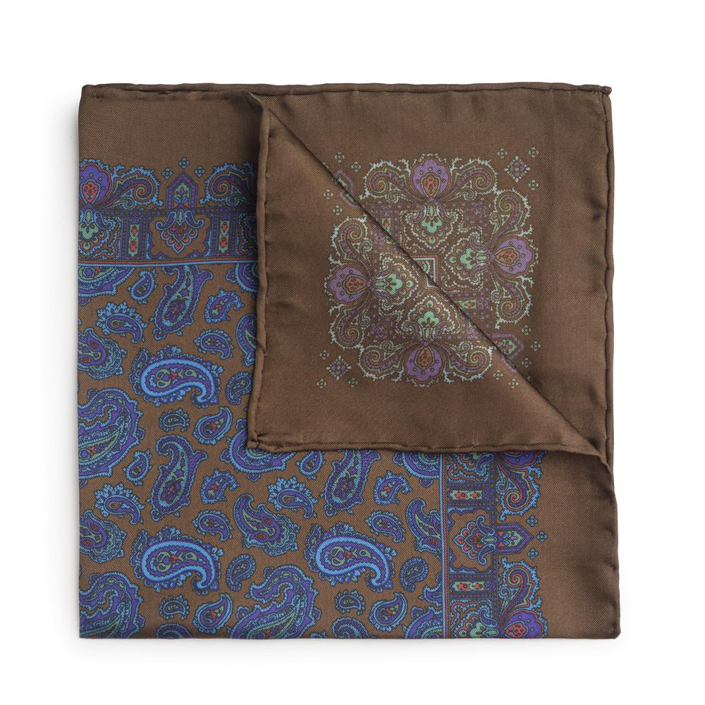 Large Brown And Blue Paisley Silk Pocket Square