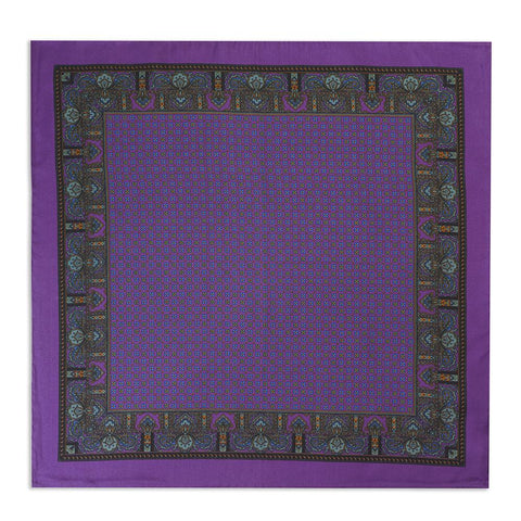 Purple Small Paisley Silk Pocket Square
