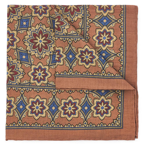 Floral Design In Burnt Orange (Wool & Silk Mix) Pocket Square Accessories Not specified