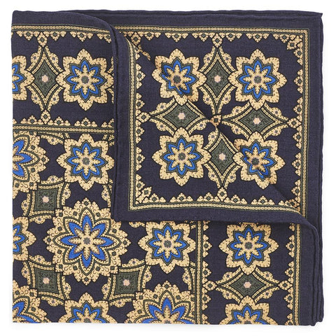 Floral Design In Navy (Wool & Silk Mix) Pocket Square Accessories Not specified