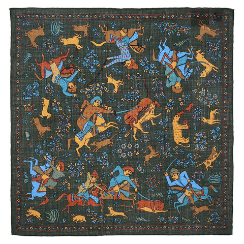 Warrior Tapestry In Green (Wool & Silk Mix) Pocket Square