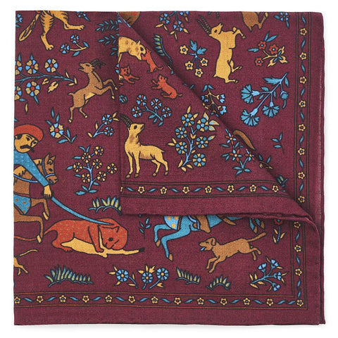 Warrior Tapestry In Red (Wool & Silk Mix) Pocket Square