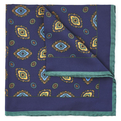 Ornate Diamond In Navy Pocket Square