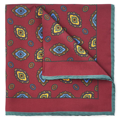 Ornate Diamond In Red Pocket Square