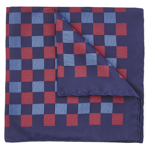 Striped Check In Navy Pocket Square Accessories Not specified