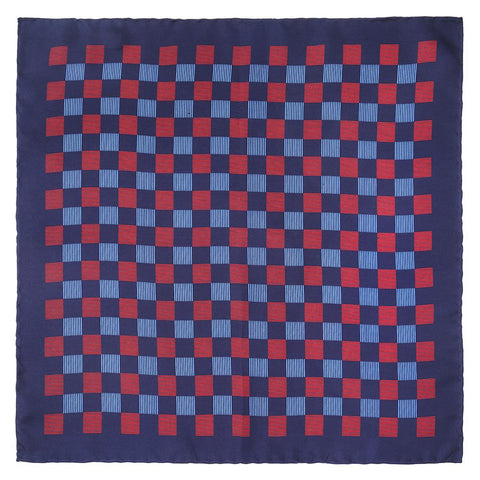 Striped Check In Navy Pocket Square