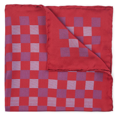 Striped Check In Red Pocket Square