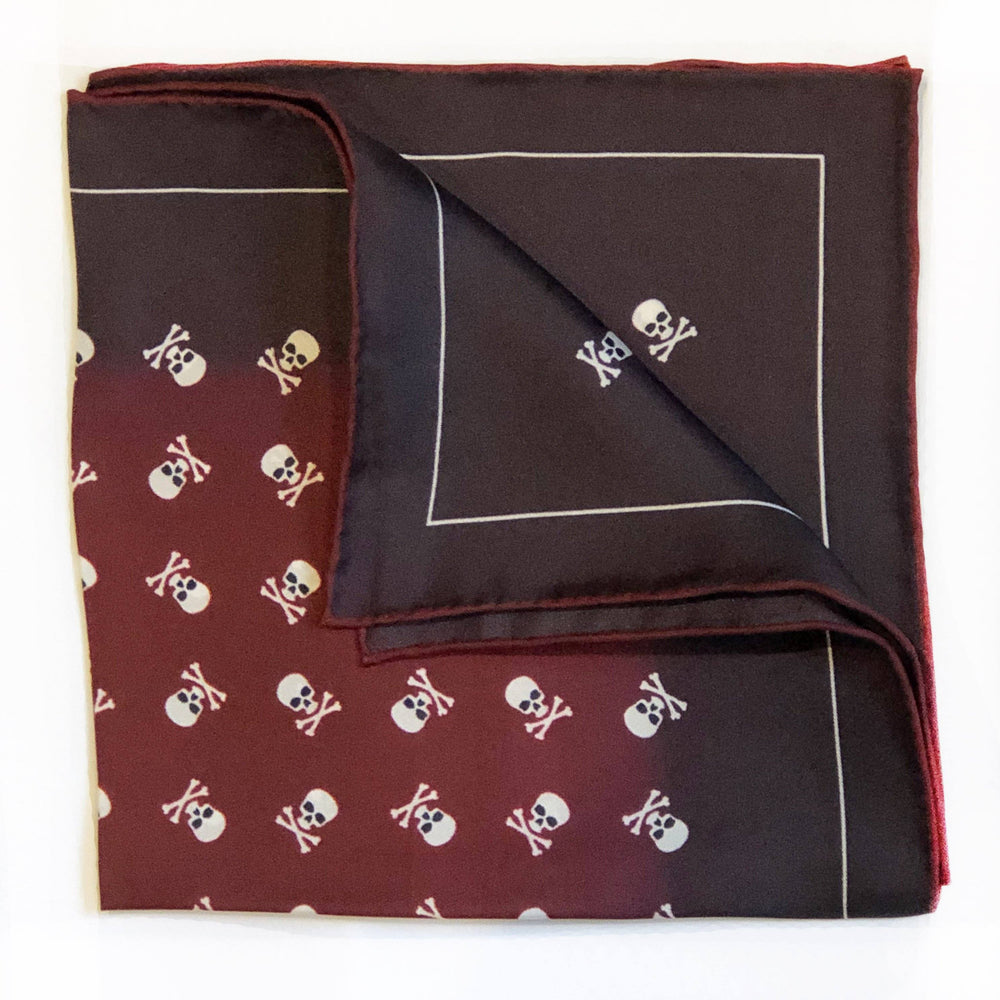 Skull & Crossbones Claret Pocket Square Accessories Not specified
