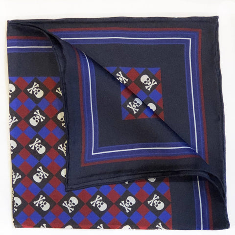 Skull & Crossbones (Checkerboard) Pocket Square