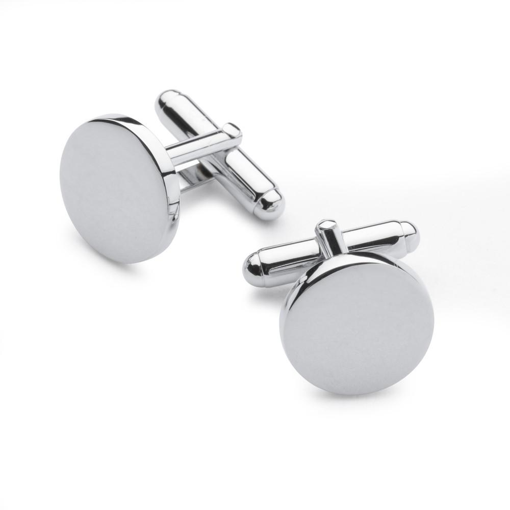 Chrome Plated Round Cufflinks