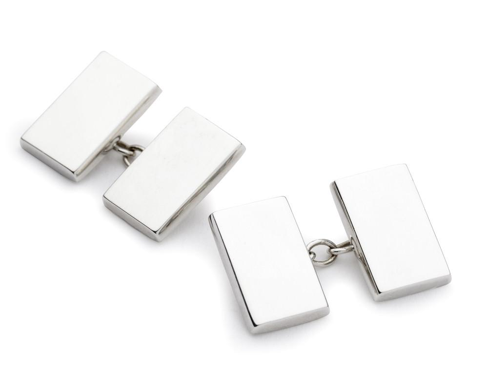 Sterling Silver Rectangle Chain Cufflinks