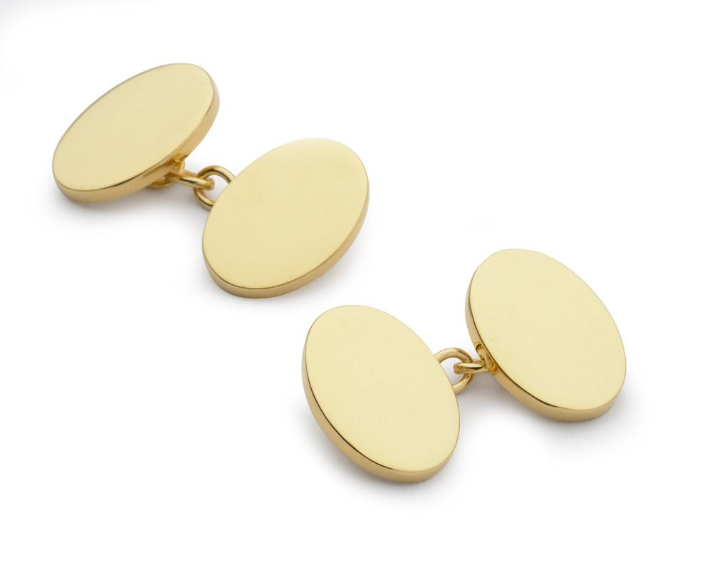 Gold Plated Oval Chain Cufflinks