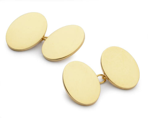 Sterling Silver & Gold Plate Oval Chain Cufflinks