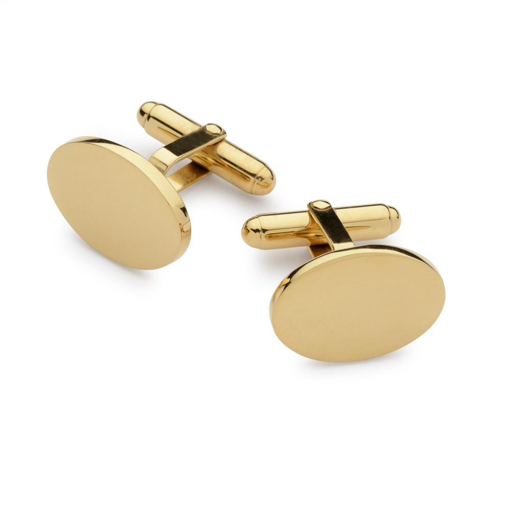 Sterling Silver & Gold Plate Oval T-bar Cufflinks