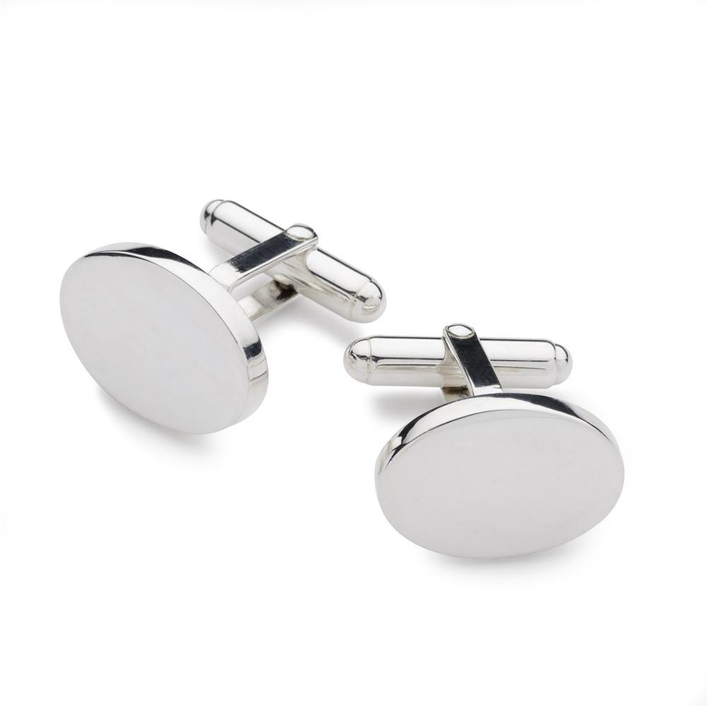 Sterling Silver Oval T-bar Cufflinks