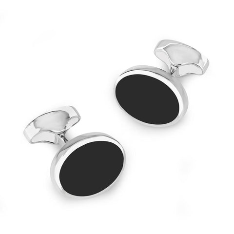 Classic Sterling Silver And Onyx Oval Cufflinks