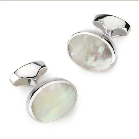 Classic Sterling Silver And Mother Of Pearl Oval Cufflinks