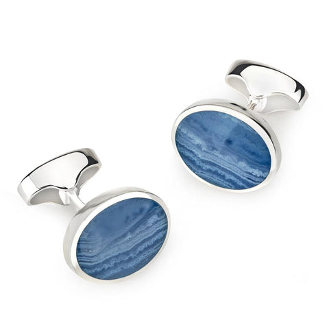 Classic Sterling Silver And Blue Lace Oval Cufflinks