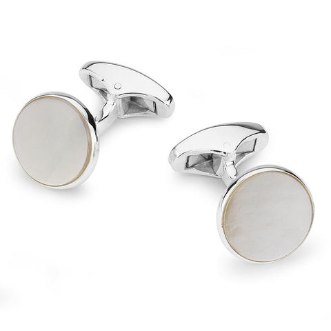 Mother of Pearl Sterling Silver Round Cufflinks