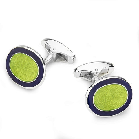 Oval Cloisonne Sterling Silver Cufflinks In Green