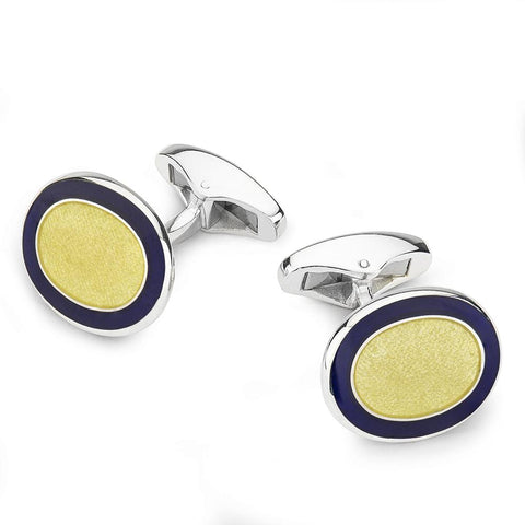 Oval Cloisonne Sterling Silver Cufflinks In Yellow