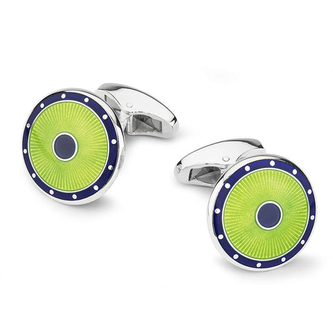Domed Guilloche Sterling Silver Cufflinks In Green