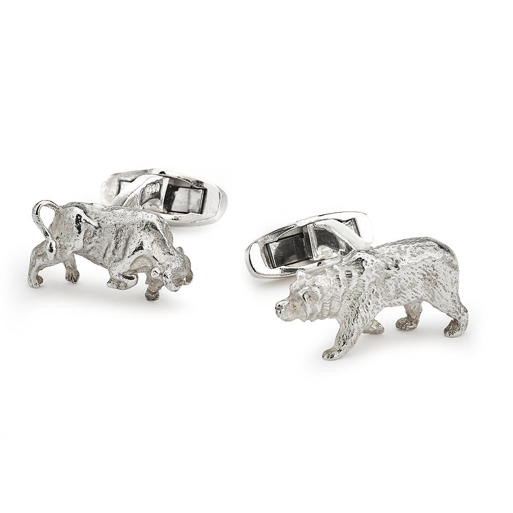 Bull And Bear In Sterling Silver Cufflinks