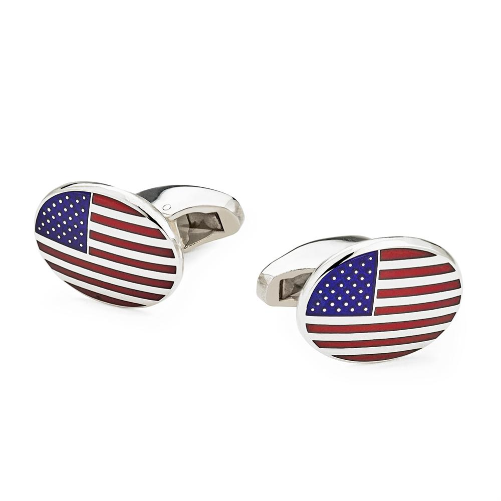 Stars And Stripes USA Flag In Sterling Silver Cufflinks