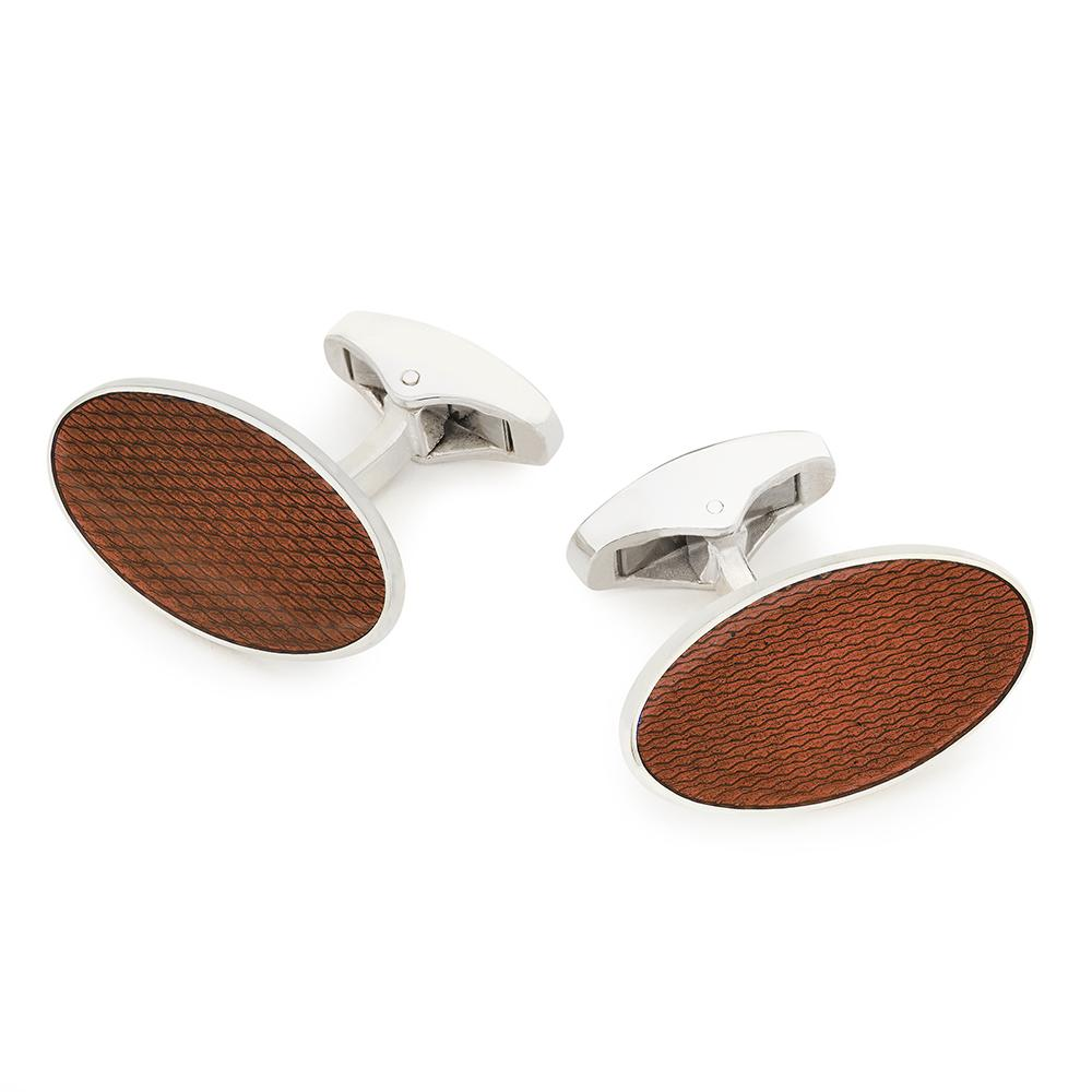 Large Oval Sterling Silver Cufflinks In Burnt Orange