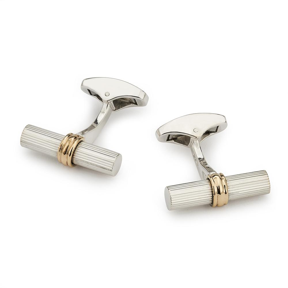 Sterling Silver Baton With 9ct Gold Ring Cufflinks
